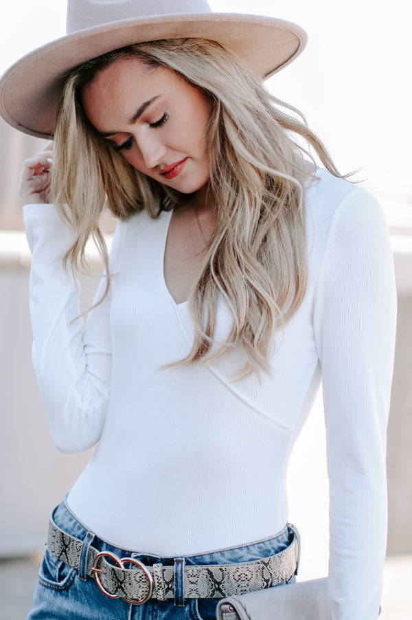 Jyn Ribbed Surplice Bodysuit - Ivory - Madison + Mallory