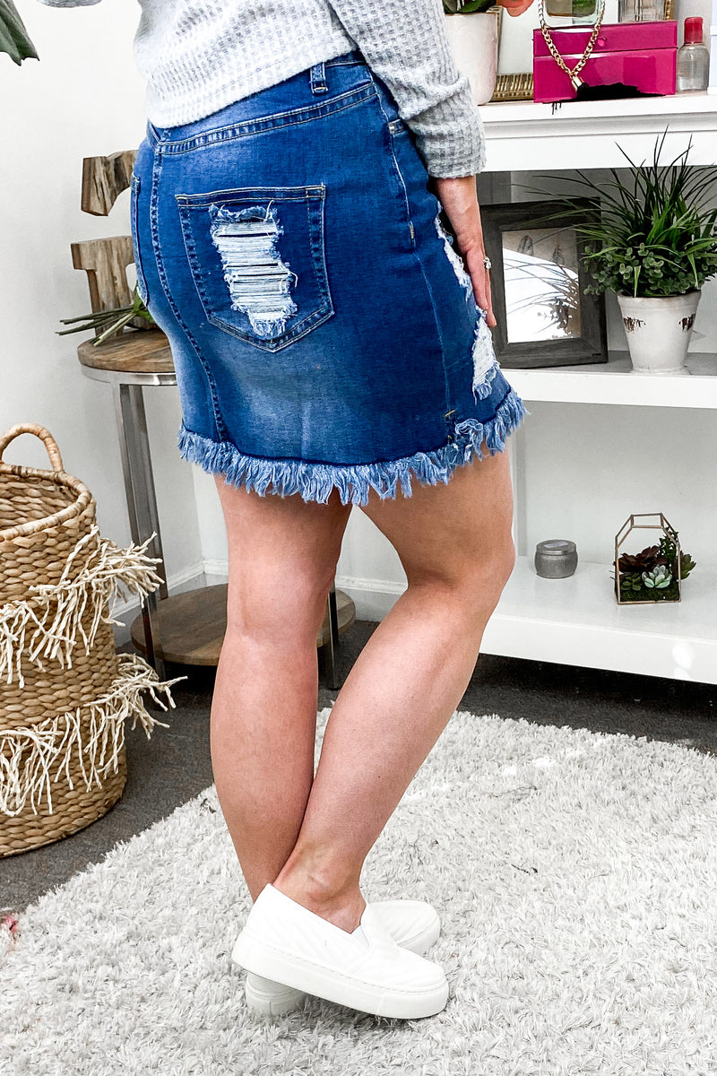 Find Your Rhythm Distressed Denim Skirt - Madison and Mallory