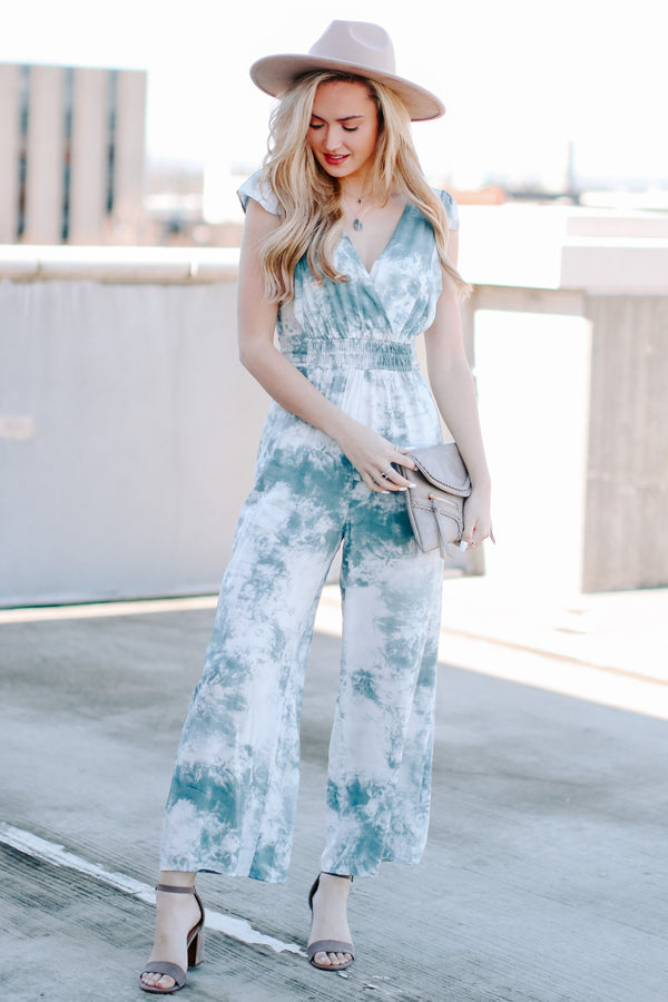S / Blue Sora Tie Dye Surplice Jumpsuit - Madison and Mallory