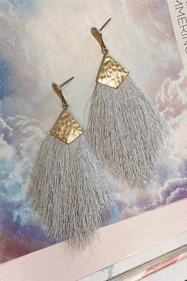 Shake It Up Tassel Earrings - Light Gray - Madison and Mallory
