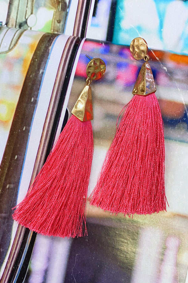 Luxe Liaison Hammered Tassel Earrings - Pink - Madison and Mallory
