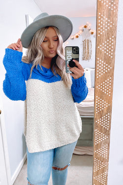 S / Royal Brina Popcorn Knit Color Block Sweater - Madison and Mallory