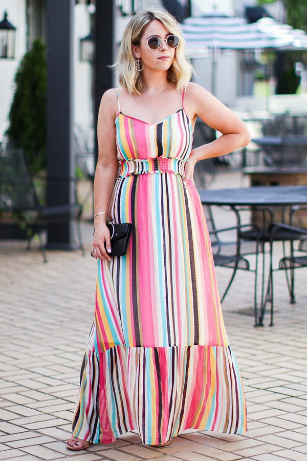 Sugar Land Vibrant Multi Stripe Ruffle Maxi Dress - FINAL SALE - Madison + Mallory