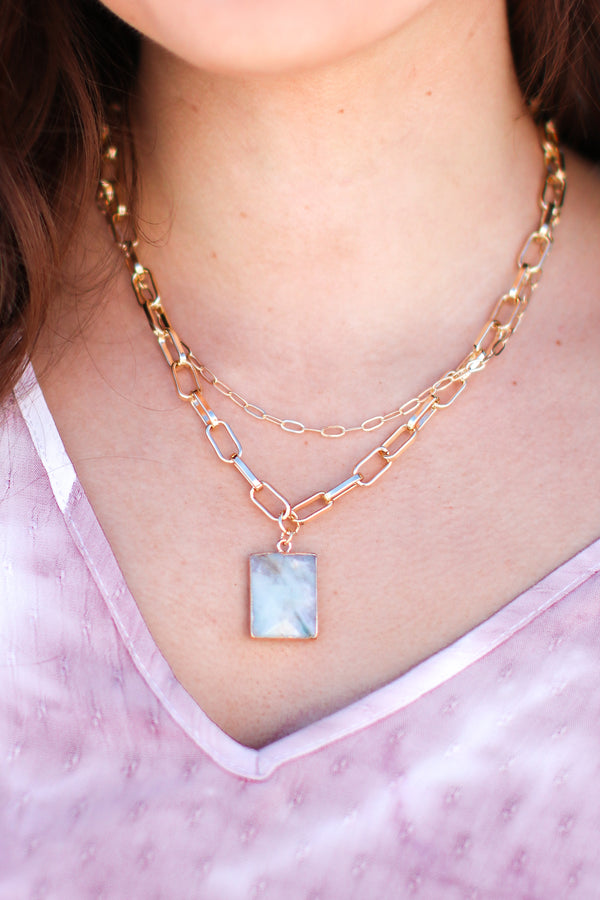 Amazonite Sunny In Santorini Layered Chain Necklace - Madison and Mallory