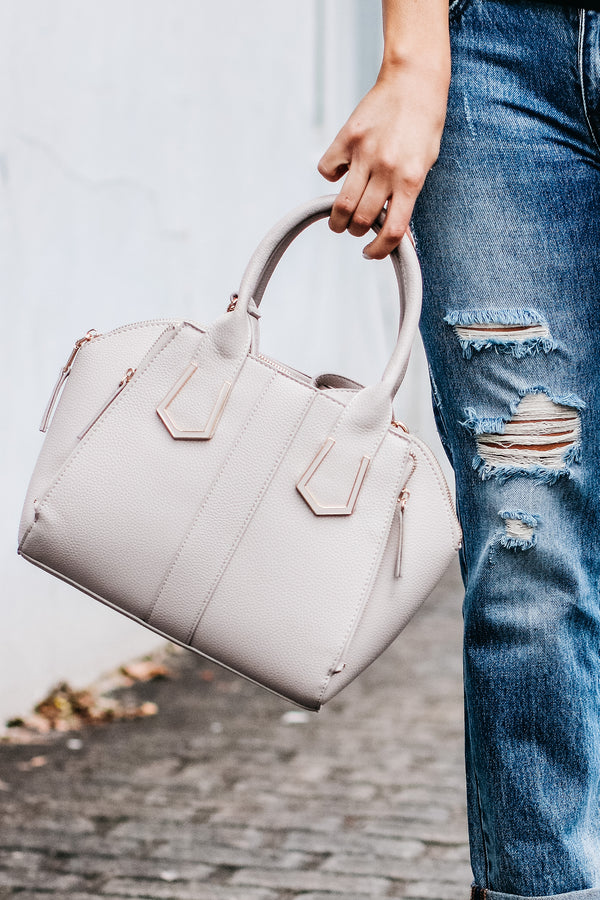 Just Promoted Faux Leather Satchel - Light Gray - Madison and Mallory
