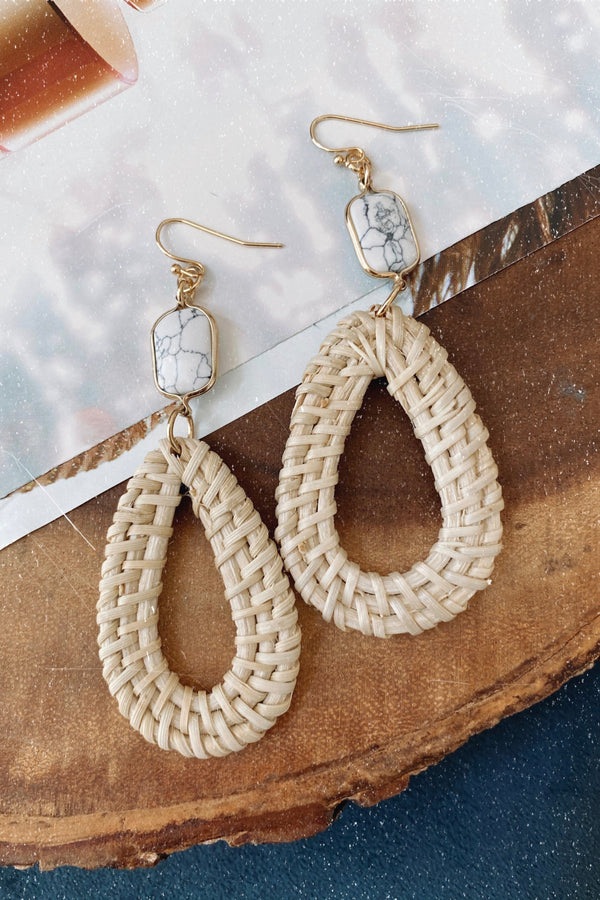 Ivory Fenton Straw and Stone Drop Earrings - Madison and Mallory