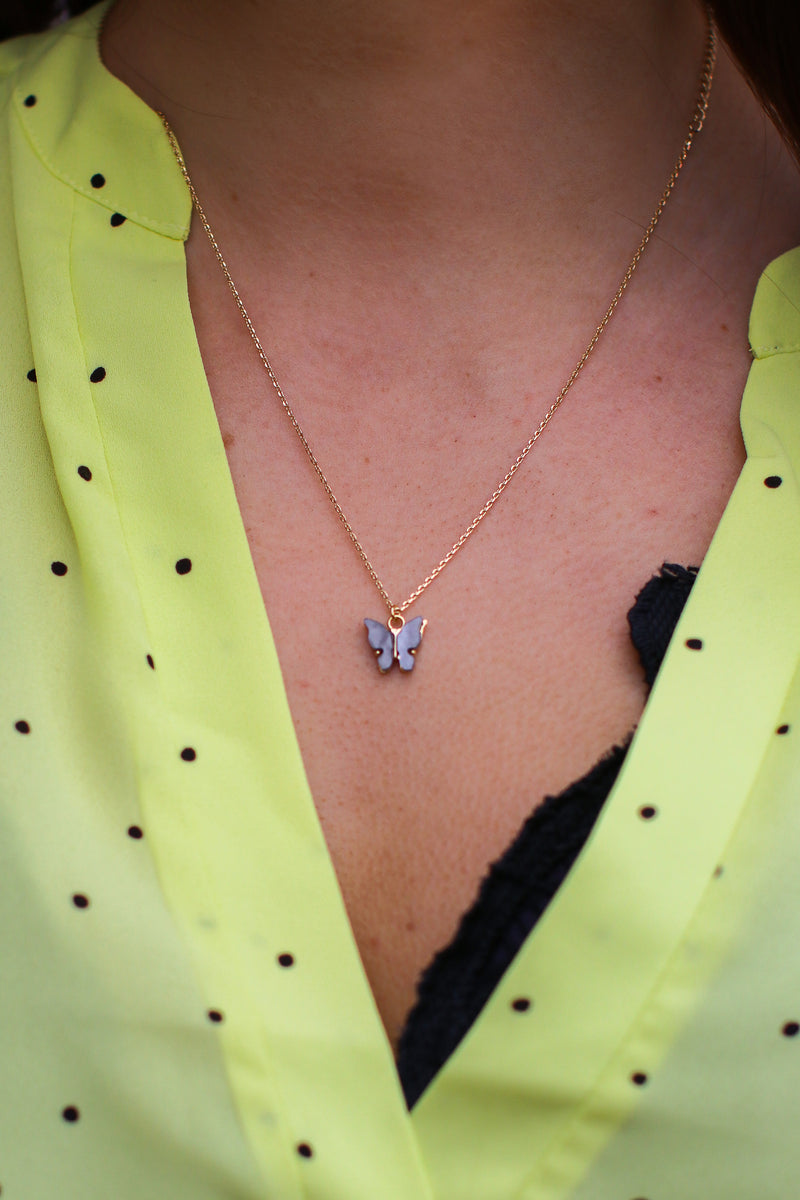 Gray Butterfly to Me Charm Necklace - Madison and Mallory