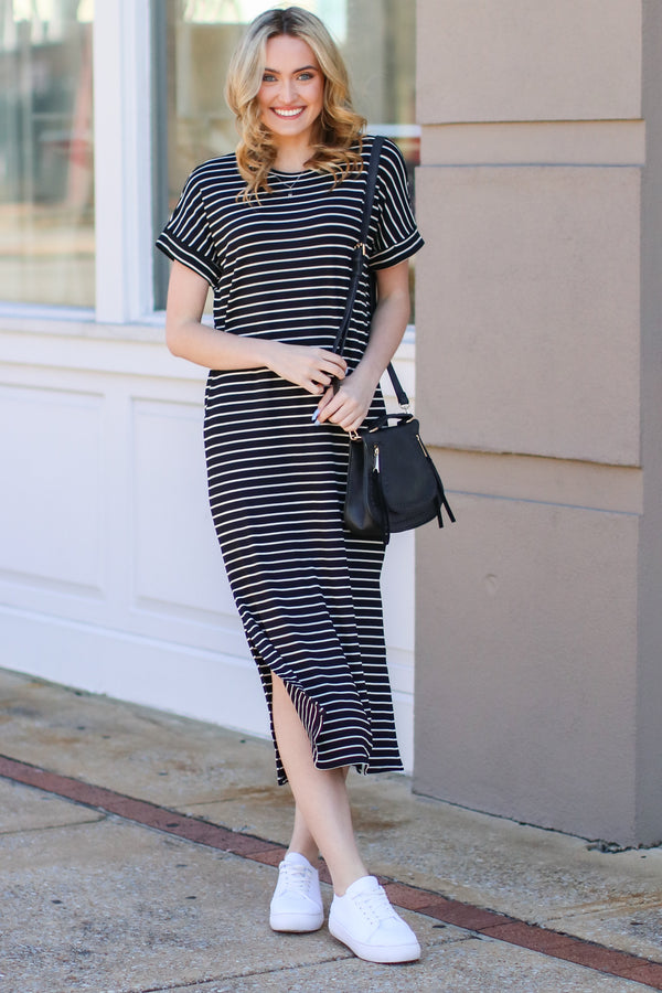 Perfectly Punctual Striped Maxi Dress - Black - Madison and Mallory