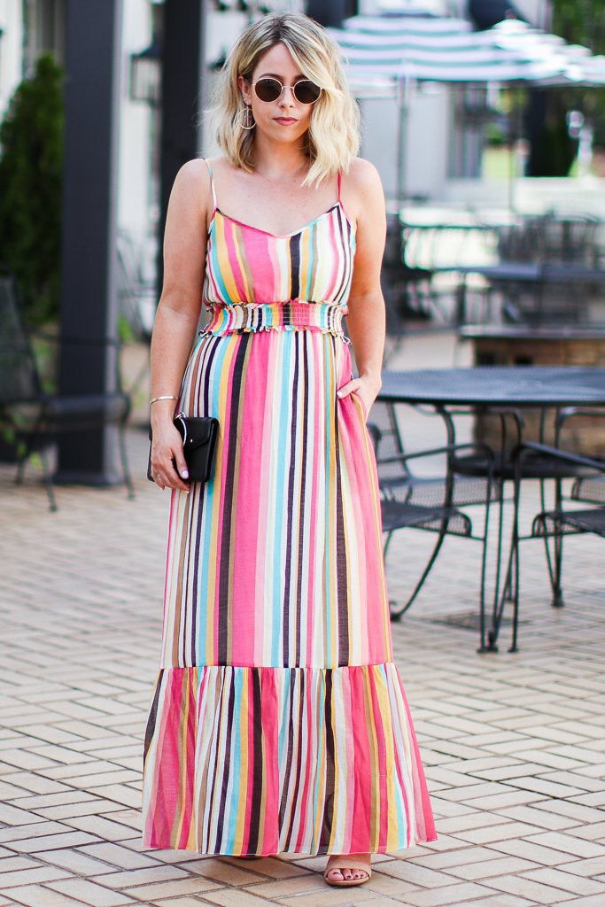 Sugar Land Vibrant Multi Stripe Ruffle Maxi Dress - Madison + Mallory