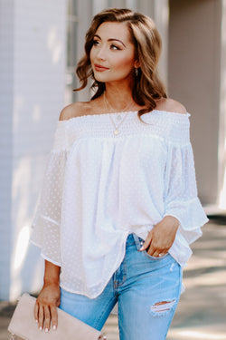 S / Cream Kimora Off Shoulder Top - Madison and Mallory