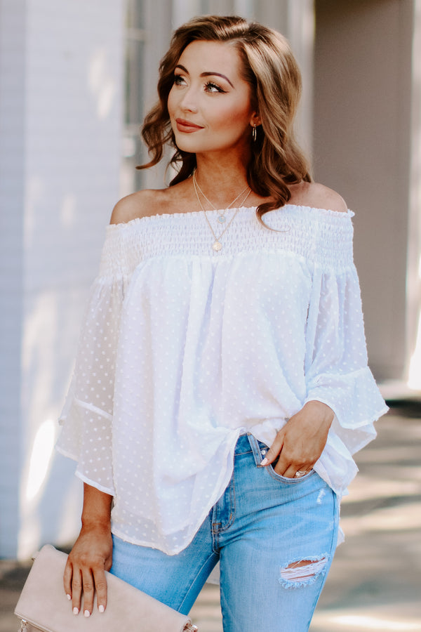 S / Cream Kimora Off Shoulder Top - Madison + Mallory