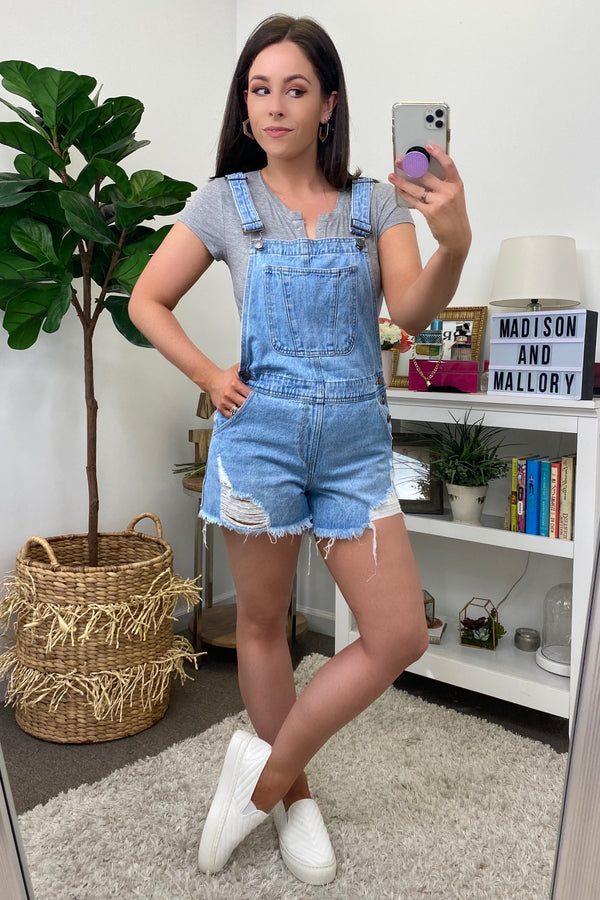 Tessi Distressed Boyfriend Short Overalls - Madison and Mallory