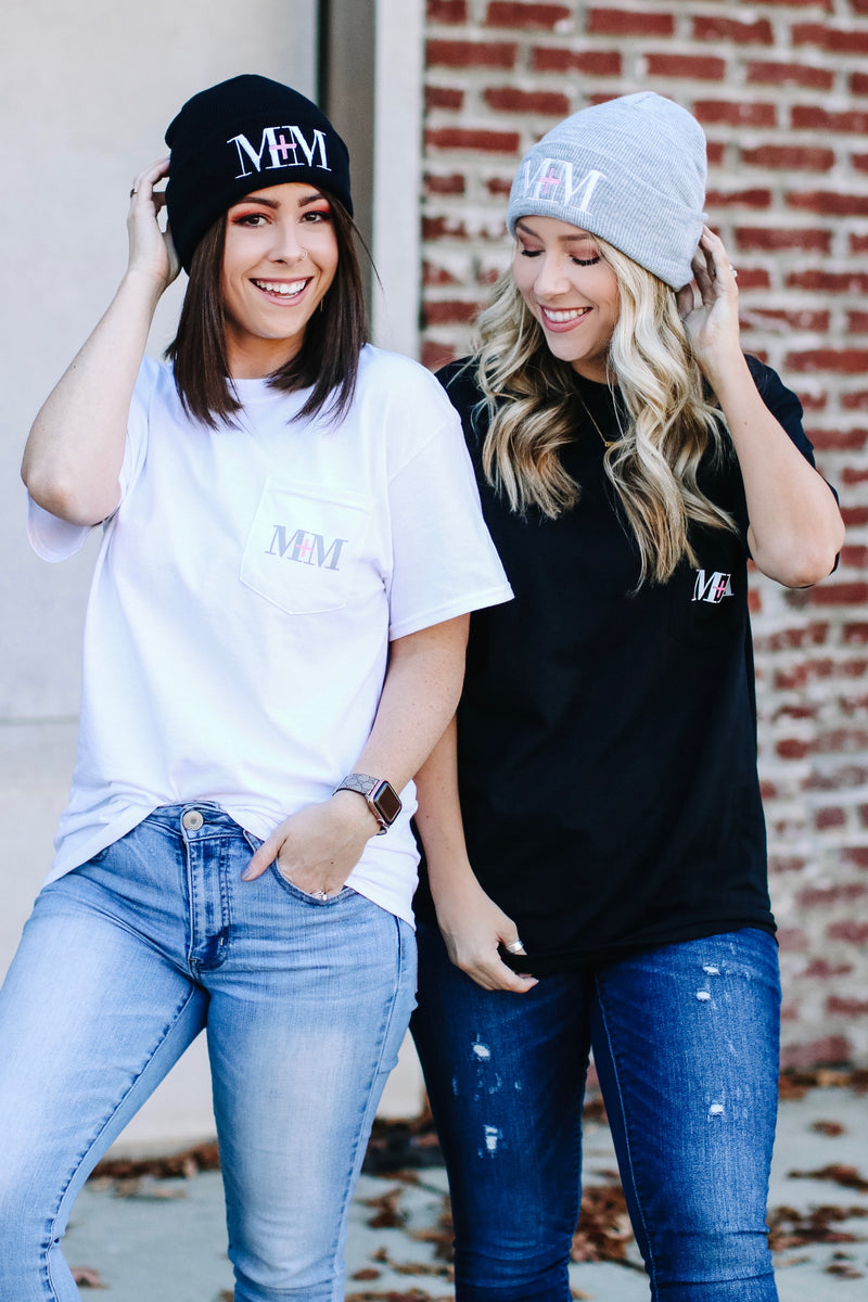 M+M Embroidered Logo Beanie - Gray - Madison and Mallory