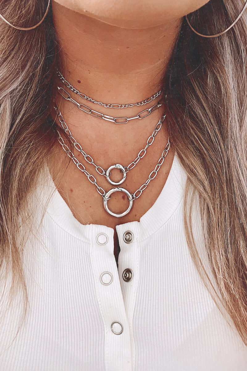 Silver Anthia Chain Layered Necklace - Madison and Mallory