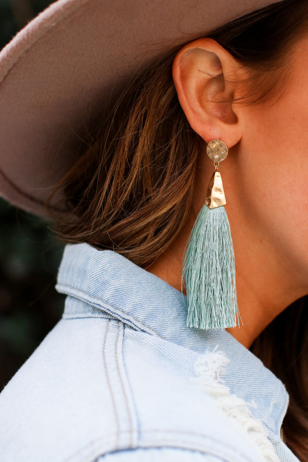 Mint Luxe Liaison Hammered Tassel Earrings- Mint - Madison and Mallory