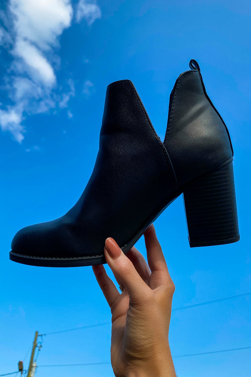 Black / 5.5 Brynne Faux Leather Heeled Booties - Madison and Mallory