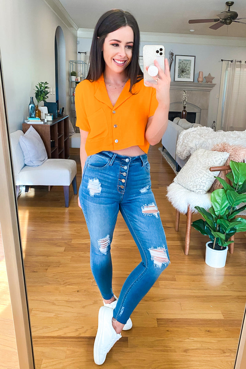 Caye Cropped Button Down Top - Madison and Mallory