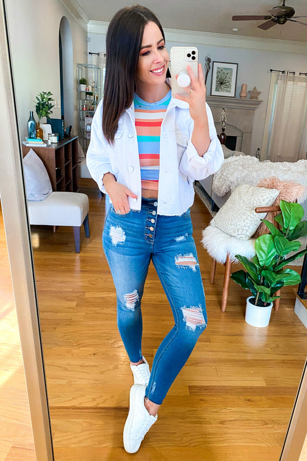Confidence Boost Multi Color Striped Top - Madison and Mallory