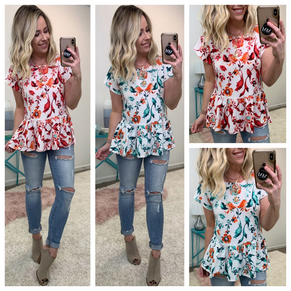 Believe Me Floral Peplum Top - Madison + Mallory