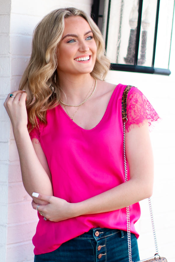 Hot Pink / S Every Whim Lace Sleeve Top - Hot Pink - Madison + Mallory