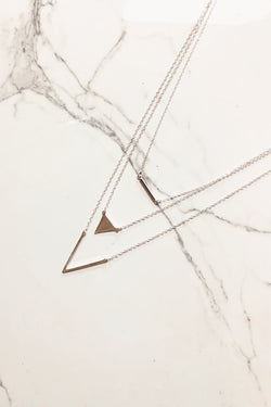 Silver One Last Glance Geometric Layered Necklace - Madison and Mallory