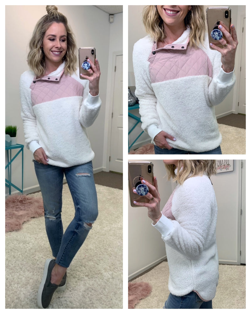 Color Block Fuzzy Button Detail Pullover - Madison + Mallory