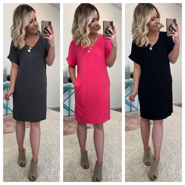 Cleveland Rolled Sleeve Shirt Dress - Madison + Mallory