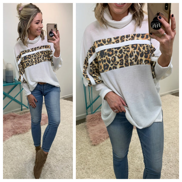 Cat's Meow Leopard Turtle Neck Pullover - Madison + Mallory