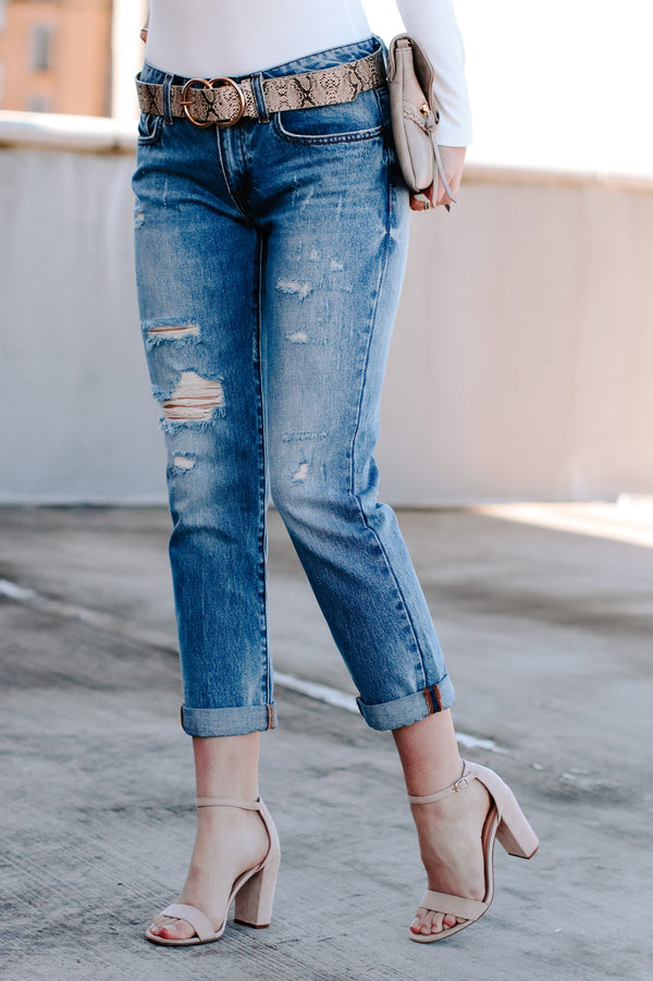 1 / Denim Trevon Distressed Boyfriend Jeans - Madison + Mallory