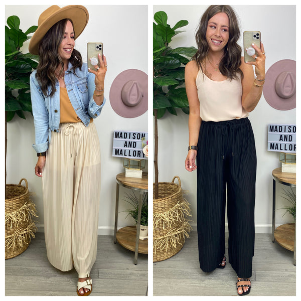 Sincere Promises Pleated Wide Leg Pants
