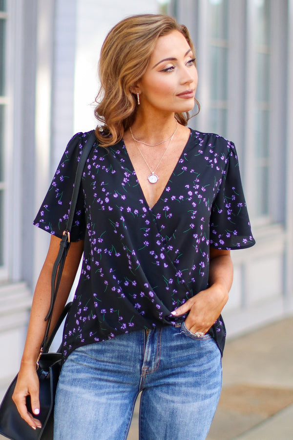 Black / S Iggy Floral Print Draped Top - Madison and Mallory