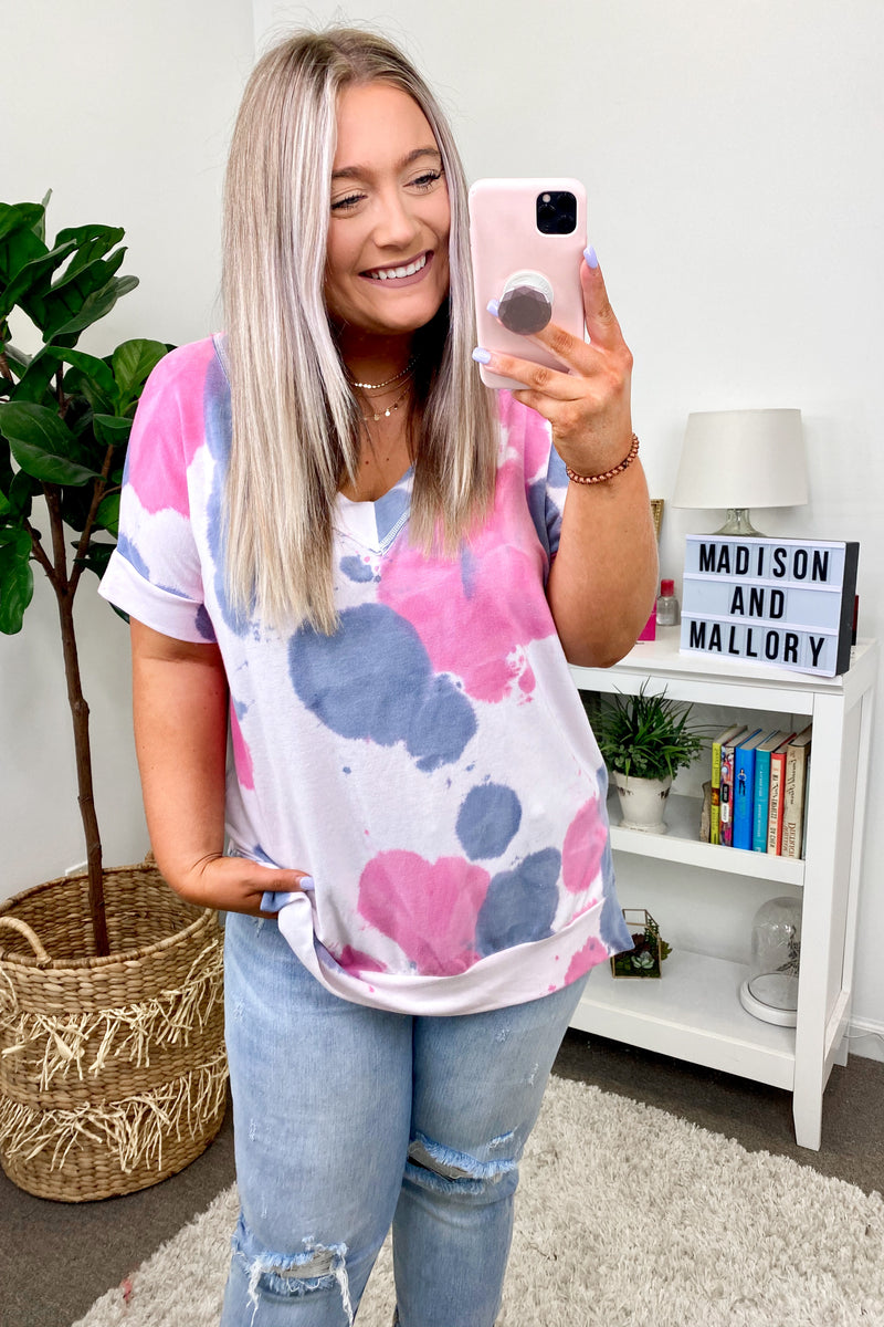 In Good Time Tie Dye Top - Pink - FINAL SALE - Madison and Mallory