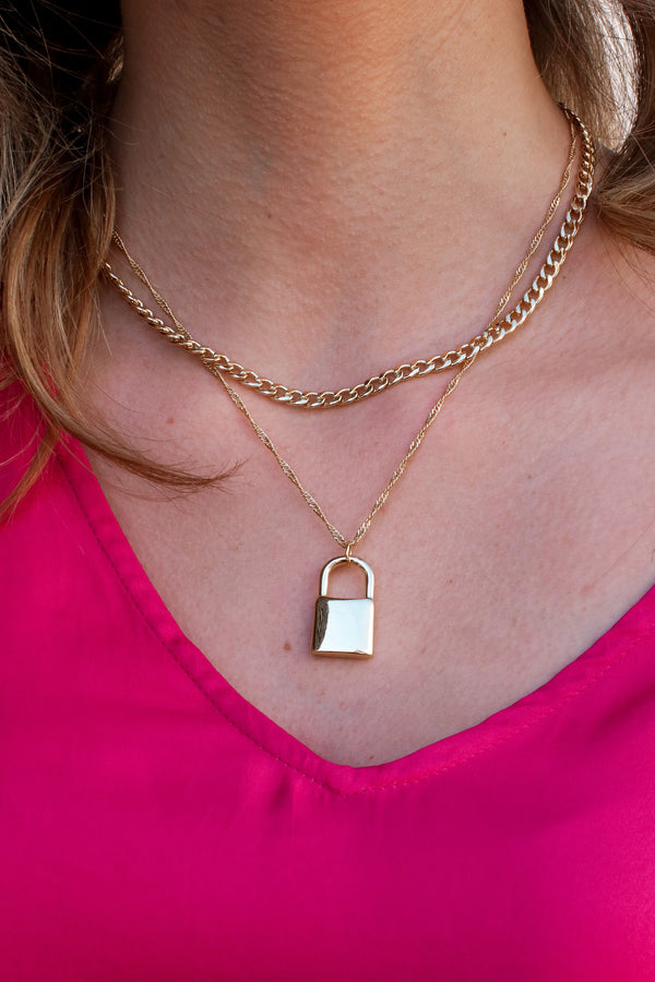 Locked Away Layered Necklace - Madison and Mallory