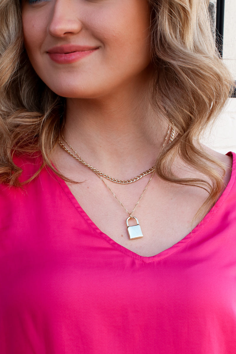 Gold Locked Away Layered Necklace - Madison and Mallory
