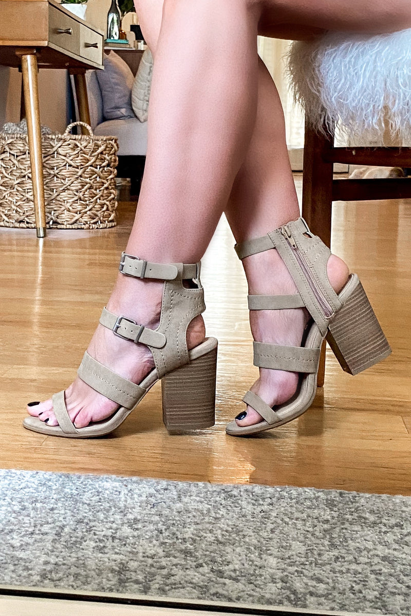 Metropolitan Buckle Detail Stacked Heels - Camel - Madison and Mallory
