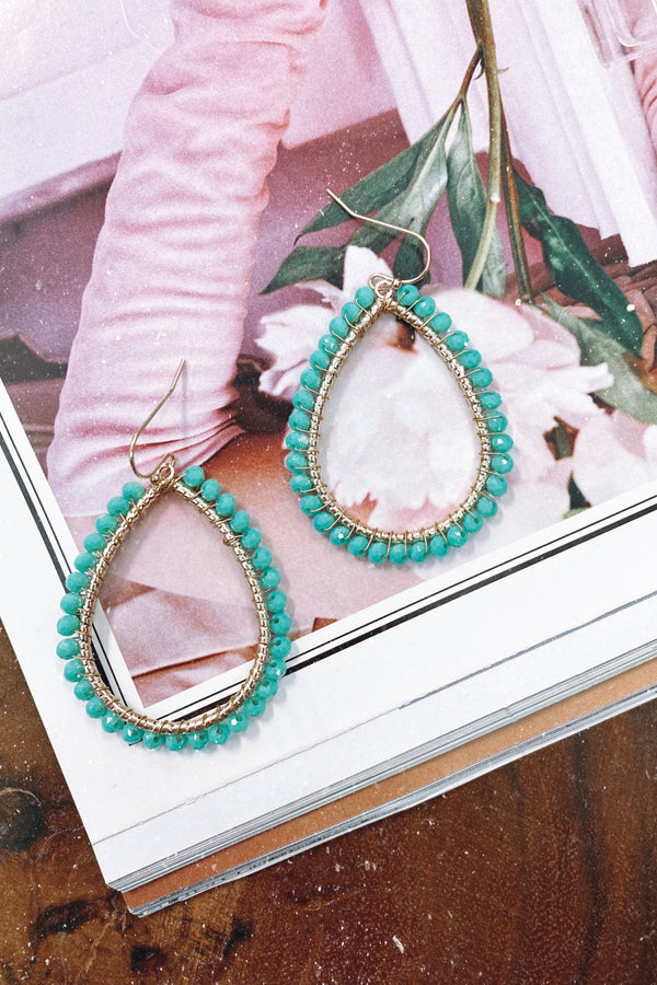 Turquoise Rediscover Beaded Accent Earrings - Madison and Mallory