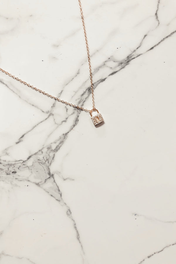 Rose Gold Beyond Charming Crystal Lock Necklace - Madison and Mallory
