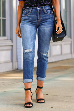 1 / Dark Ganessa Distressed Boyfriend Jeans - FINAL SALE - Madison and Mallory