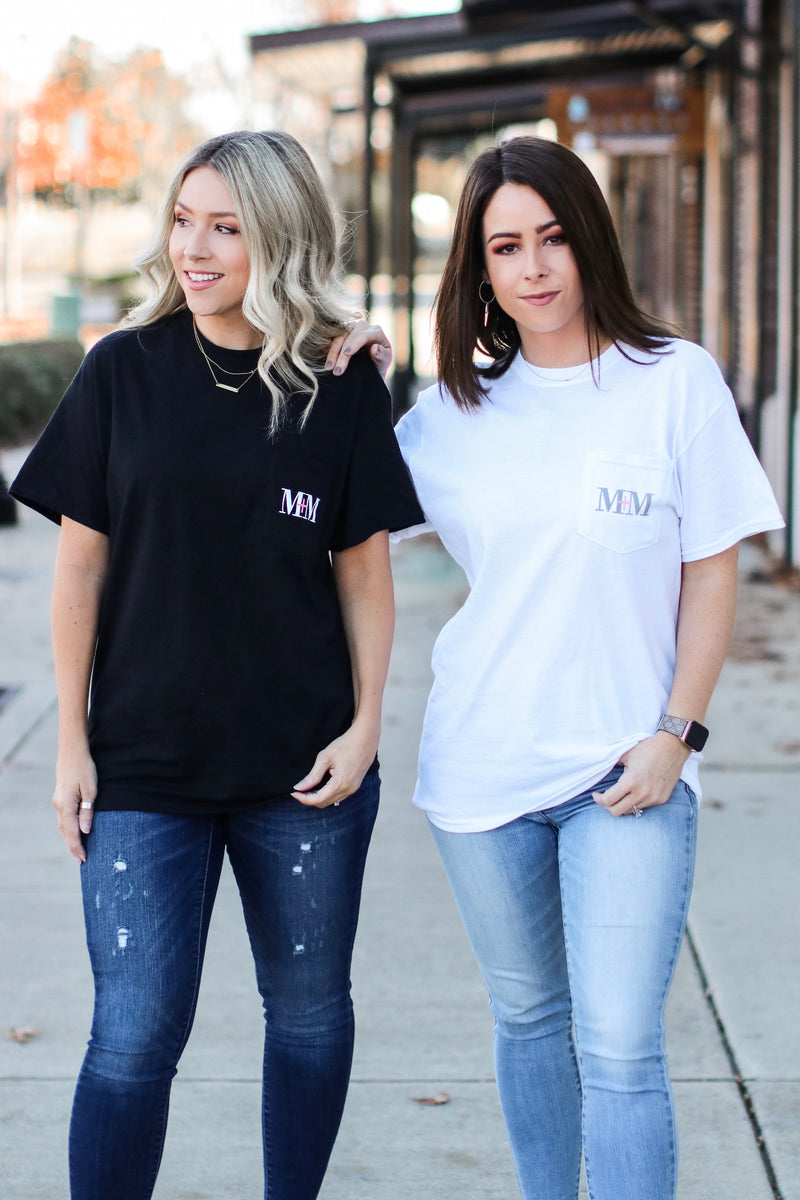 M+M Logo Pocket Top - Black - Madison and Mallory