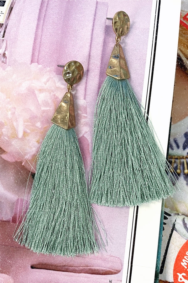 Luxe Liaison Hammered Tassel Earrings- Mint - Madison and Mallory
