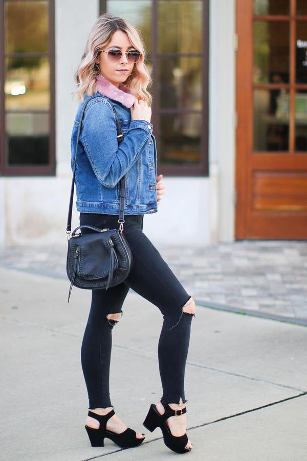 Coffee Run Denim Jacket - Blush - Madison + Mallory