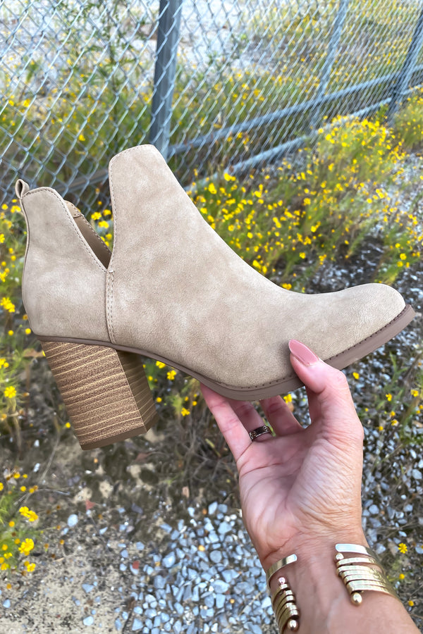 Taupe / 5.5 Brynne Faux Leather Heeled Booties - Madison and Mallory