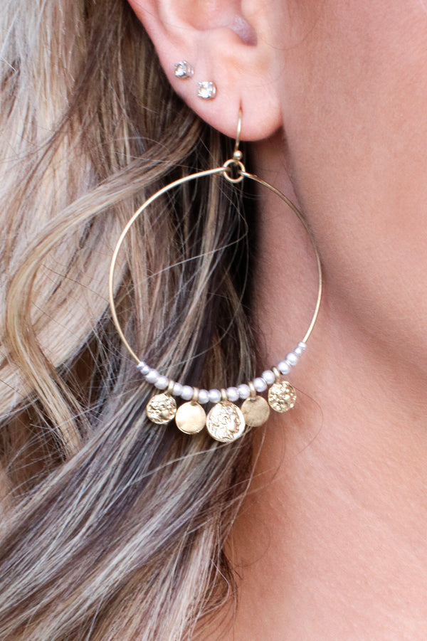 This Love Coin Dangle Hoops - Madison + Mallory