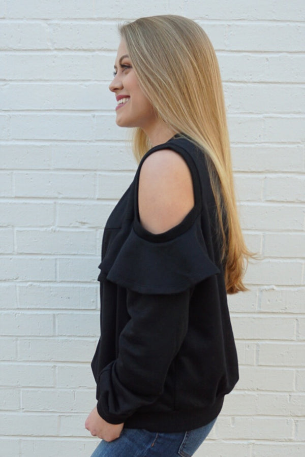 Ruffle Zip Up Sweatshirt - Madison + Mallory