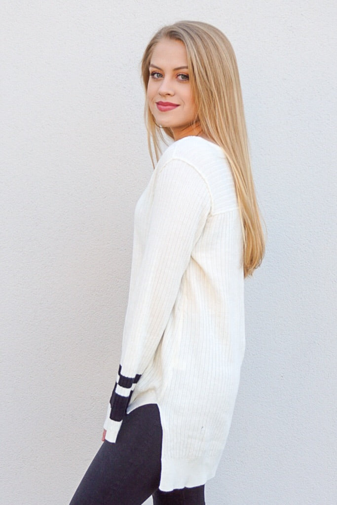 V-Neck Varsity Ribbed Sweater Top