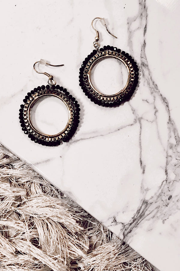 Gold Charmed and Dangerous Beaded Hoop Earrings - Madison and Mallory