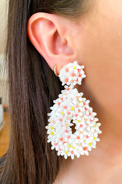 White Picking Wildflowers Floral Statement Earrings - Madison and Mallory