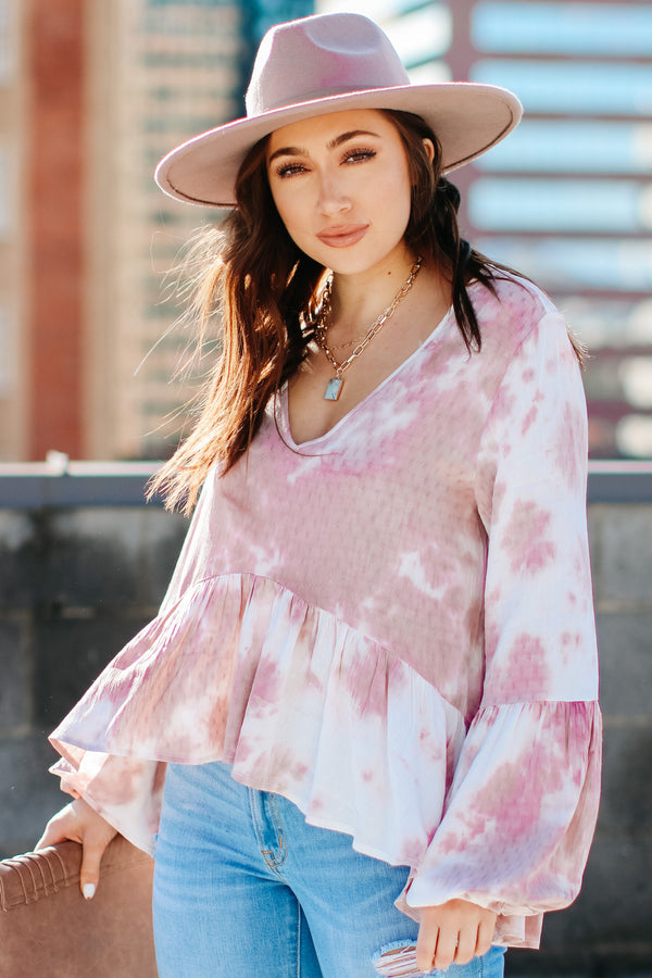 S / Mauve Fortuna Tie Dye Peplum Top - Madison + Mallory