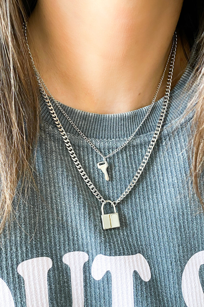 Silver Under Lock and Key Layered Necklace - Madison and Mallory