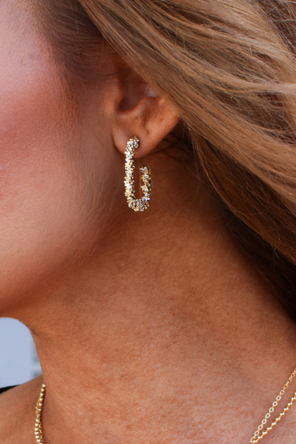Gold Charming One Square Hoop Earrings - Madison and Mallory